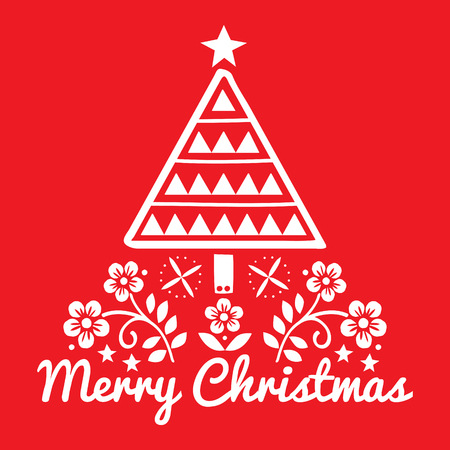 Christmas folk art greeting card with Xmas tree and flowers pattern in white on red background - Merry Christmas decoration