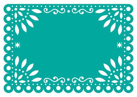 Disegno del modello vettoriale Papel Picado in turchese, decorazione in carta messicana con fiori e forme geometriche Vettoriali