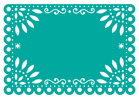 Papel Picado vector template design in turquoise, Mexican paper decoration with flowers and geometric shapes