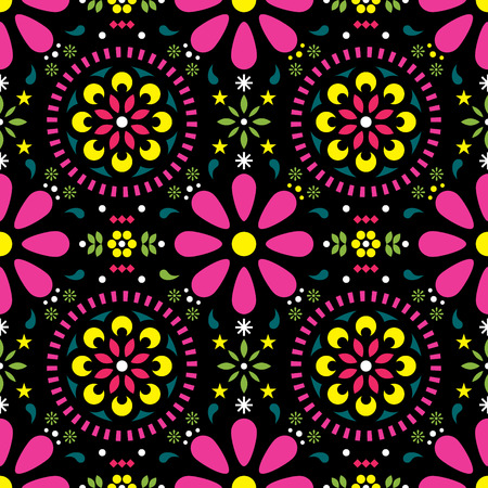 Mexican floral vector seamless pattern, traditional folk art colorful fiesta design on black background Illustration