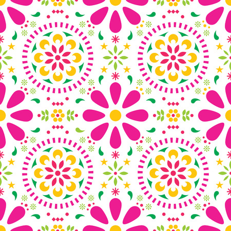 Mexican floral vector seamless pattern, traditional folk art colorful fiesta design on white background