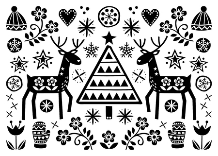 Christmas folk art greeting card with reindeer, flowers, Xmas tree and winter clothes pattern in black on white background - Merry Christmas decoration  イラスト・ベクター素材