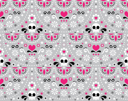 Mexican folk art vector seamless pattern with skulls, flowers and abstract shapes, pink, white and gray textile design inspired by traditional art form Mexico Illustration