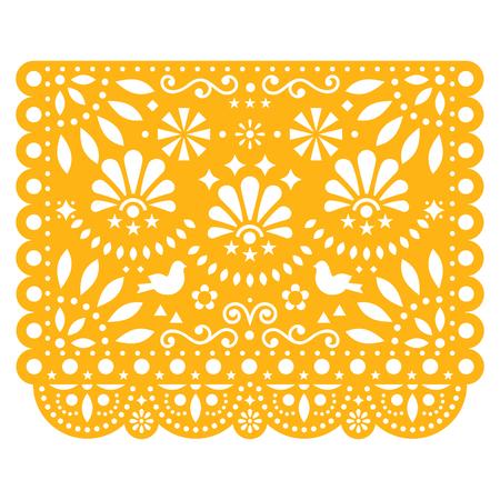 Papel Picado vector diseño floral con pájaros, plantilla de decoraciones de papel mexicano en amarillo, banner de fiesta tradicional