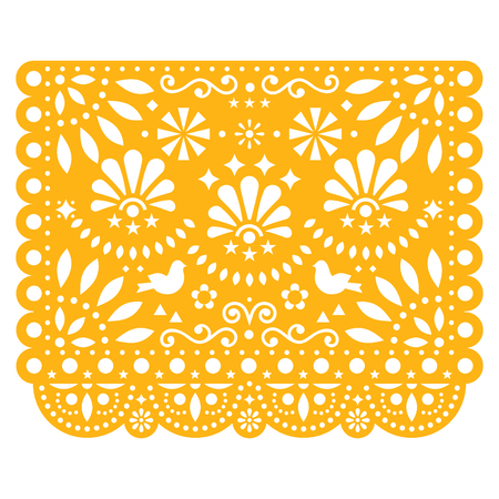 Papel Picado vector floral design with birds, Mexican paper decorations template in yellow, traditional fiesta banner