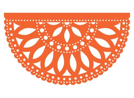 Diseño de plantilla de vector de fiesta mexicana, papel de fiesta Papel Picado recortado con patrón floral y geométrico, decoración de fiesta tradicional de México