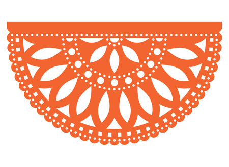 Mexican party vector template design, Papel Picado fiesta paper cut out  with floral and geometric pattern, traditional party decoration from Mexico Illustration