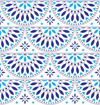 Mexican folk art vector seamless geometric pattern with flowers, blue fiesta design inspired by traditional art form Mexico Illustration