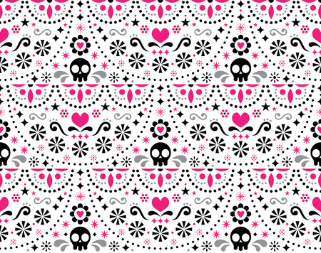 Mexican folk art vector seamless pattern with skulls, Halloween decor, flowers and abstract shapes, pink, white and gray textile design