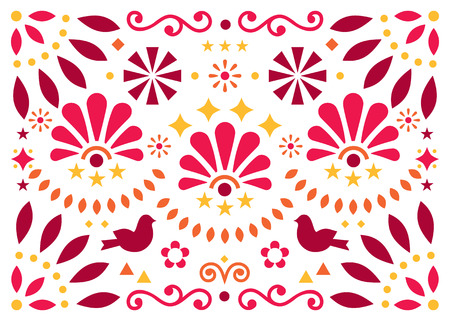Mexican traditional folk art vector geometric pattern with flowers and birds, orange and red greeting card or invitaion design inspired by traditional art from Mexico Illustration