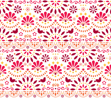 Mexican traditional folk art vector seamless geometric pattern with flowers and birds, orange and red fiesta design inspired by traditional art form Mexico