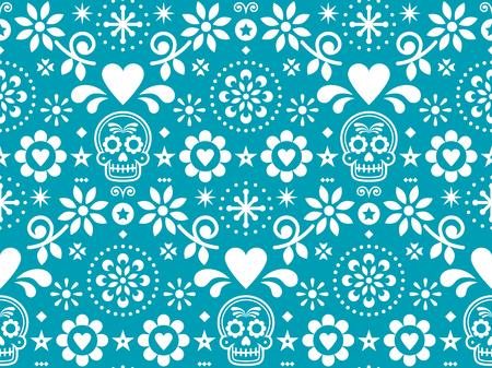 Nahtloses Muster des Zuckerschädelvektors, inspiriert von der mexikanischen Volkskunst, Dia de Los Muertos repetitives Design in Weiß auf türkisfarbenem Hintergrund