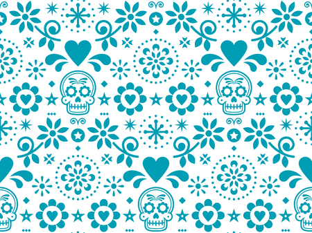 Sugar skull vector seamless pattern inspired by Mexican folk art, Dia de Los Muertos repetitive design in turquoise on white background