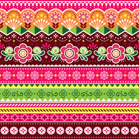 Indian truck art vector seamless pattern, Indian truck floral design with flowers, leaves and abstract shapes