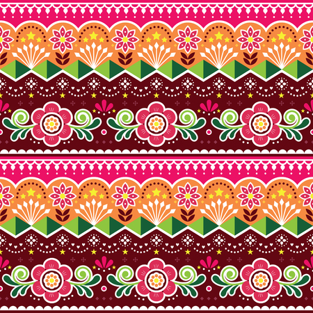 Pakistani or Indian truck art vector seamless pattern, Indian truck floral design with flowers, leaves and abstract shapes