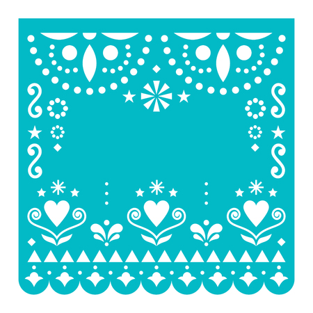 Papel Picado template vector design, Mexican happy tuquoise paper fiesta decoration from Mexico with flowers and geometric pattern
