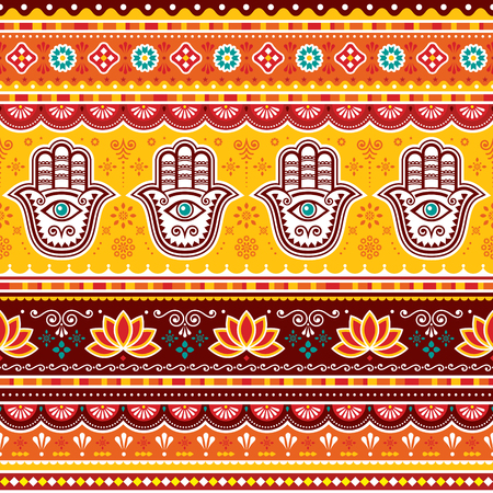 Pakistani or Indian truck art vector seamless pattern with Hamsa hands, decorative truck floral design with flowers and abstract shapes Illustration