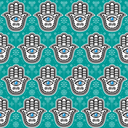 Hamsa hand, Hand of Fatima vector seamless pattern, symbol of protection from devil eye, repetitve background