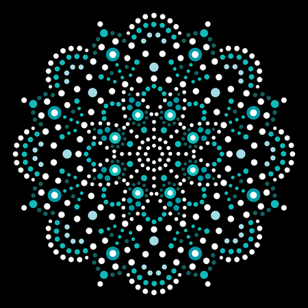 Dot art vector mandala, traditional Aboriginal dot painting design, indigenous decoration from Australia Vectores