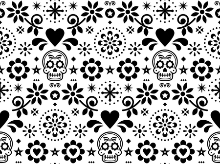 Sugar skull vector seamless pattern inspired by Mexican folk art, Dia de Los Muertos repetitive design black and white Illustration