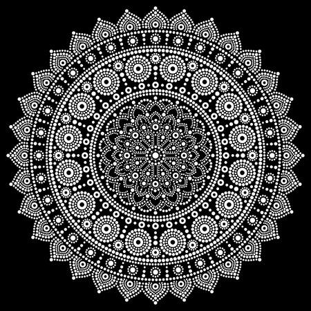 Mandala vector design, Aboriginal dot painting style, Australian folk art boho style in white on black background 일러스트