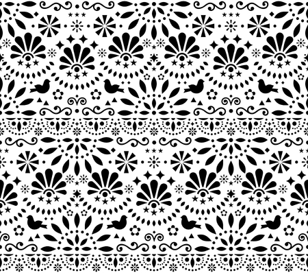 Mexican traditional folk art vector seamless geometric pattern with flowers and birds, black and white fiesta design inspired by traditional art form Mexico