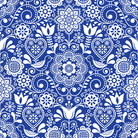 Seamless folk art vector pattern with birds and flowers, Scandinavian repetitive floral design in white on navy blue