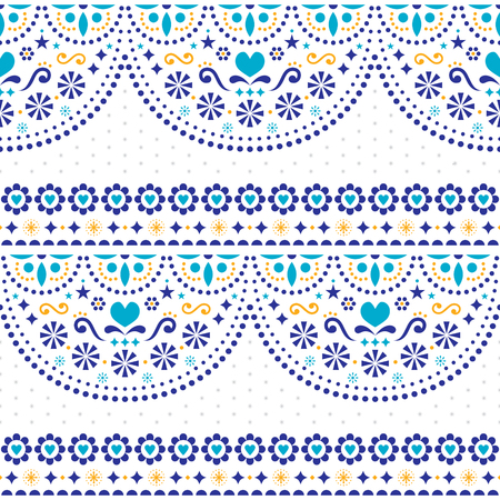 Mexican folk art vector seamless pattern with flowers and geometric shapes, repetitive textile design