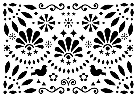 Mexican traditional folk art vector geometric pattern with flowers and birds, black and white greeting card
