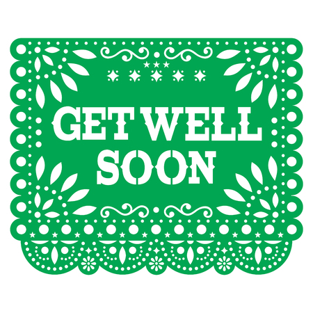 Get well soon Papel Picado greeting card or postcard - Mexican green vector design styled as paper cutout decorations Illustration