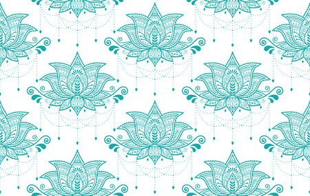 Indian Lotus flower vector seamless pattern, Mehndi henna tattoo style, Yoga or zen decoration, bohemian textile in turquoise on white background