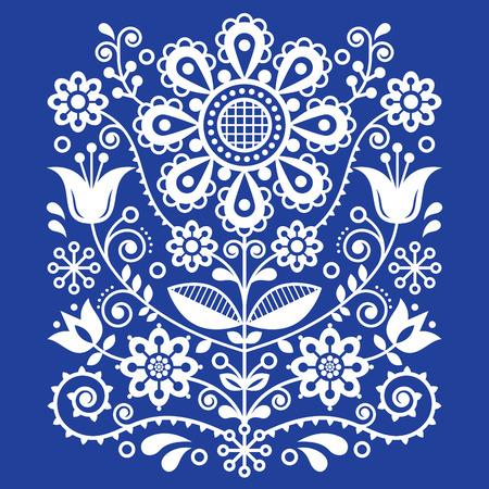 Scandinavian vector folk art pattern, floral retro ornament design, Nordic style ethnic decoration Vetores