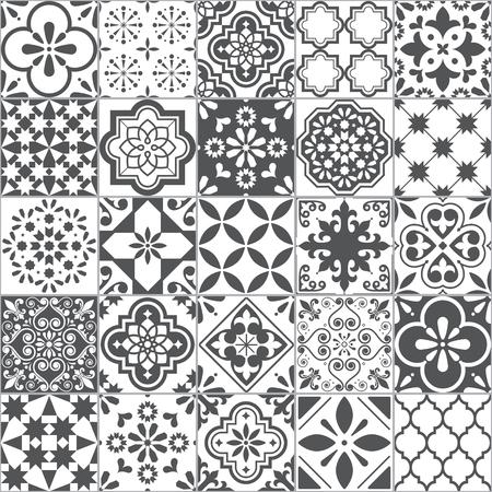 Lissabon geometrisches Azulejo-Fliesen-Vektormuster, portugiesisches oder spanisches Retro-altes Fliesenmosaik, mediterranes nahtloses graues und weißes Design