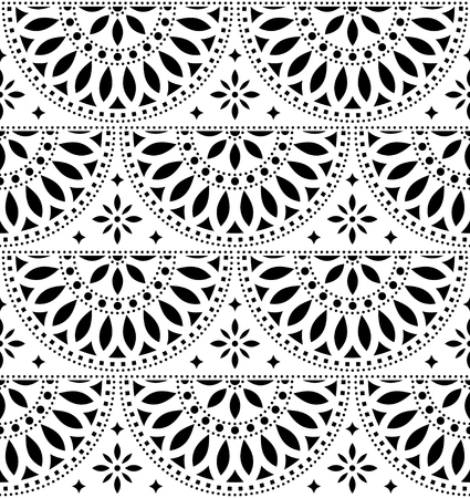 Mexican folk art vector seamless geometric pattern with flowers, black and white fiesta design inspired by traditional art from Mexico