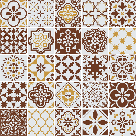 Lisbon Azulejos tile vector pattern, Portuguese or Spanish retro mosaic tiles, Mediterranean seamless brown design Vettoriali