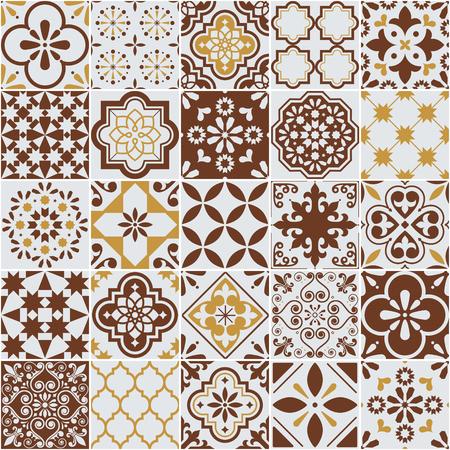 Patrón de vector de azulejos de Lisboa Azulejos, azulejos de mosaico retro portugueses o españoles, diseño marrón mediterráneo sin costuras Ilustración de vector