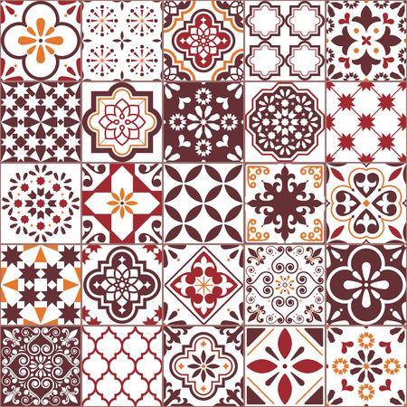 Lisbon Azulejos tile vector pattern, Portuguese or Spanish retro mosaic tiles, Mediterranean seamless brown design Vetores
