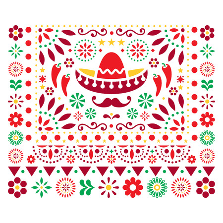 Mexican vector floral design with sombrero, chili peppers and flowers, happy ornament - greeting card on invitation design