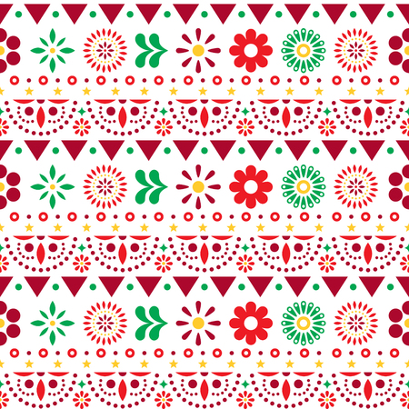 Mexican seamless pattern with flowers and abstract shapes - textile, wallpaper design Illustration