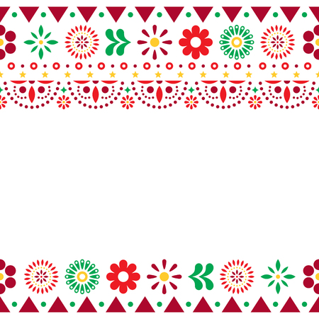 Mexican vector greeting card on invitaitons wtih flowers and abstract shapes on white Illustration