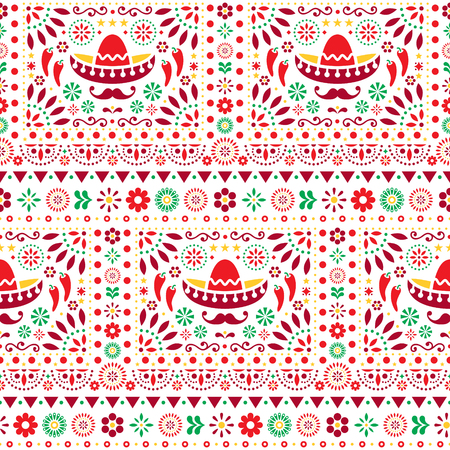 Seamless vector Mexican floral pattern with sombrero, chili peppers and flowers, happy repetitive background Illustration