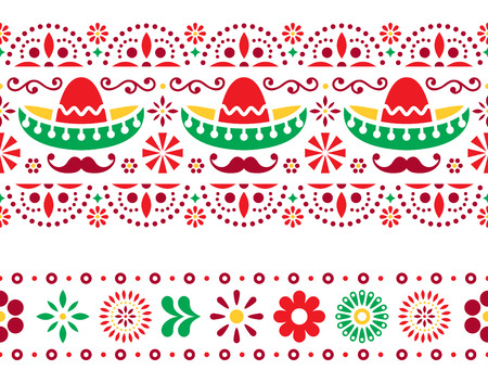 Mexican seamless pattern with sombrero, mustache and flowers - textile, wallpaper design Illustration