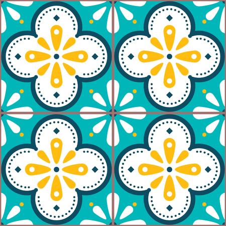 Fliesenvektormuster - Azulejo Lissabon Retro altes Fliesenmosaik, portugiesisches nahtloses Design in Türkis und Gelb