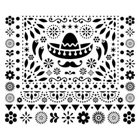Mexican floral design with sombrero, chili peppers and flowers, happy ornament - greeting card on black and white