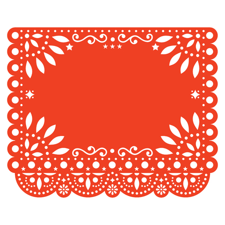Papel Picado floral design template with abstract shapes, vector illustration Ilustração