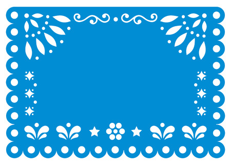 Papel Picado template design with flowers and geometric shapes - greeting card or invitation