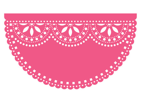 Mexican fiesta template design with empty space for text, Papel Picado paper cut out with floral and geometric pattern, traditional party decoration from Mexico with no text