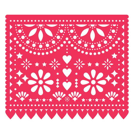 Papel Picado floral design template with abstract shapes, Mexican paper pattern in pink, traditional fiesta