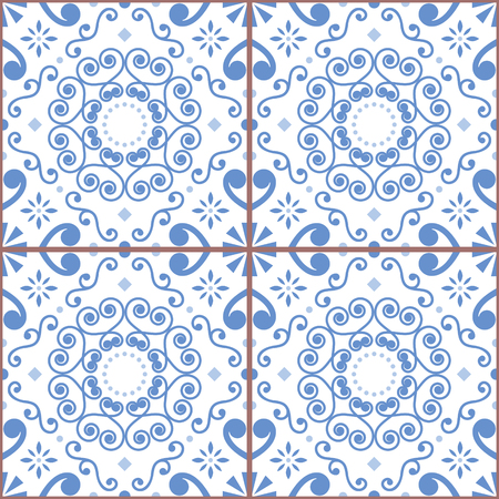Portuguese or Spanish retro tile. Azulejos seamless design, geometric background - textile or wallpaper repetitive pattern