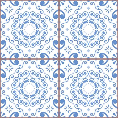 Portuguese or Spanish retro tile. Azulejos seamless design, geometric background - textile or wallpaper repetitive pattern